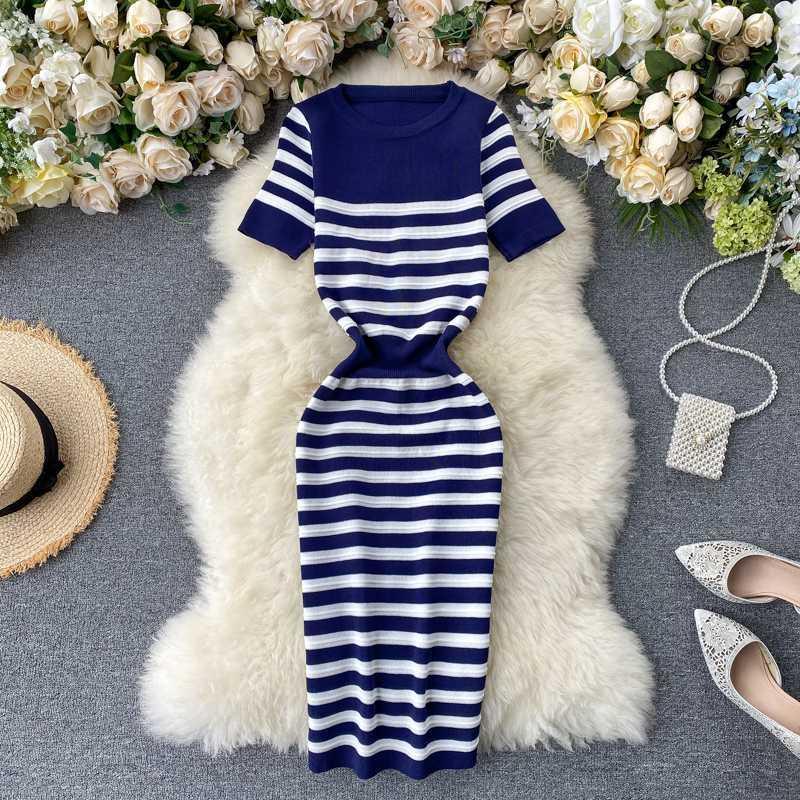 Vintage 2020 bahar İnce baskı elbise Yaz Örme BODYCON midi kalem elbise Kadınlar gündelik Parti diz boyu elbiseler çizgili