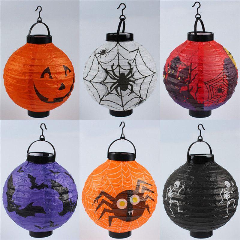 LED Halloween Pumpkin Lights Lamp Paper Lantern Spiders Bats Pattern Decoration LED Battery Bulbs Ballons Lamps for Kids WCW696