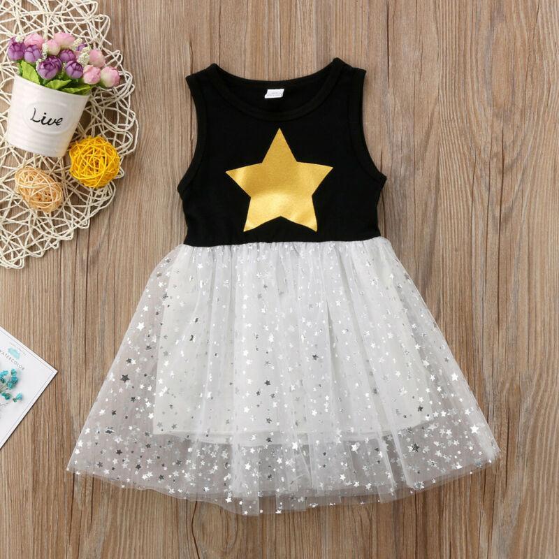 Pailletten Sterne Kinder Baby Ärmel Prinzessin-Kleid-Spitze-Partei-Tutu-Kleid 2019 Sommer Art und Weise Mädchen kleiden Spitzenkleider