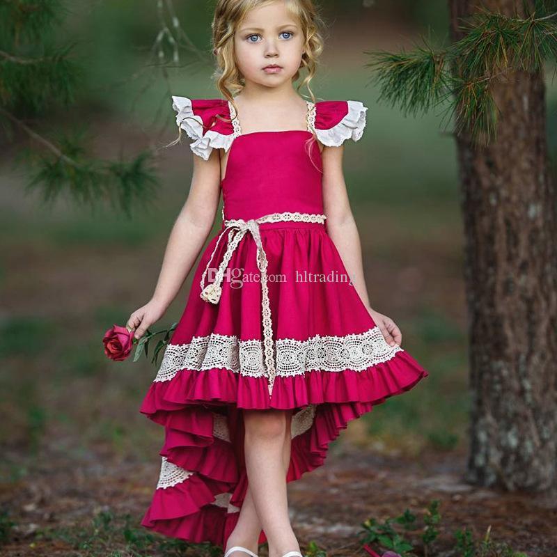 INS Bebek kız kol Backless elbise çocuk Kırlangıç dantel prenses elbiseleri 2019 yaz Moda butik Çocuk Giyim 2 colorsC5742 Uçan