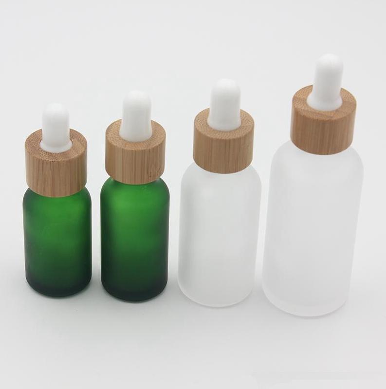 Bottiglia di profumo 15ml 10 20 30 ml libera glassata di vetro contagocce con bambù coperchio Cap bottiglia di vetro olio Frosted verde EEA1625
