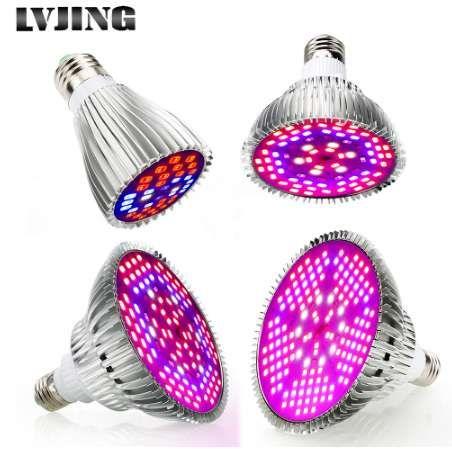 Spectrum completa 30W / 50W / 80W / 100W AC85 ~ 265V UV + IR E27 LED crece liviano para plantas con flores y sistema de hidroponía LED lámpara para acuario