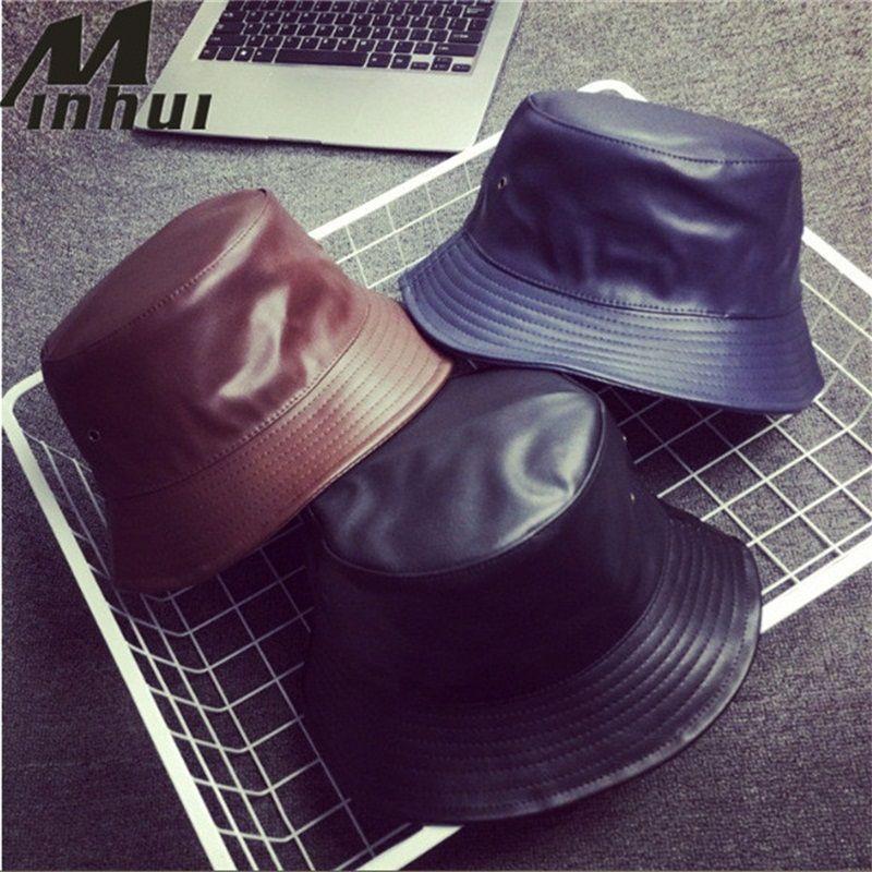 Minhui 2017 Новая мода PU Hip Hop Caps Ковш шапки для мужчин и женщин Hat Кожа Bobs Панама БАПД Hat