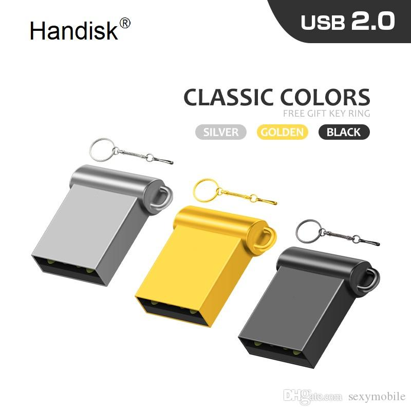 HanDisk® Sliver Concise Mini Metallic USB Flash Drive 32gb 64gb 128gb 16gb 8gb 4gb 2gb Usb Stick 100% Real capacity Customized LOGO EU092