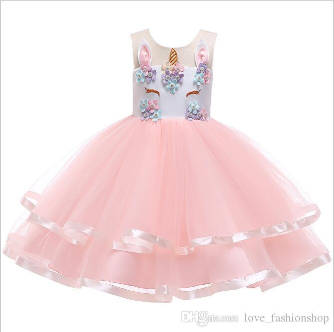 1 Sztuk 2019 Dziewczyny Różowy Kwiatowy Cosplay Unicorn Summer Sukienki Kwiat Appliqued Princess Dress Party Wedding Dress Elegent Ball Suknia Odzież