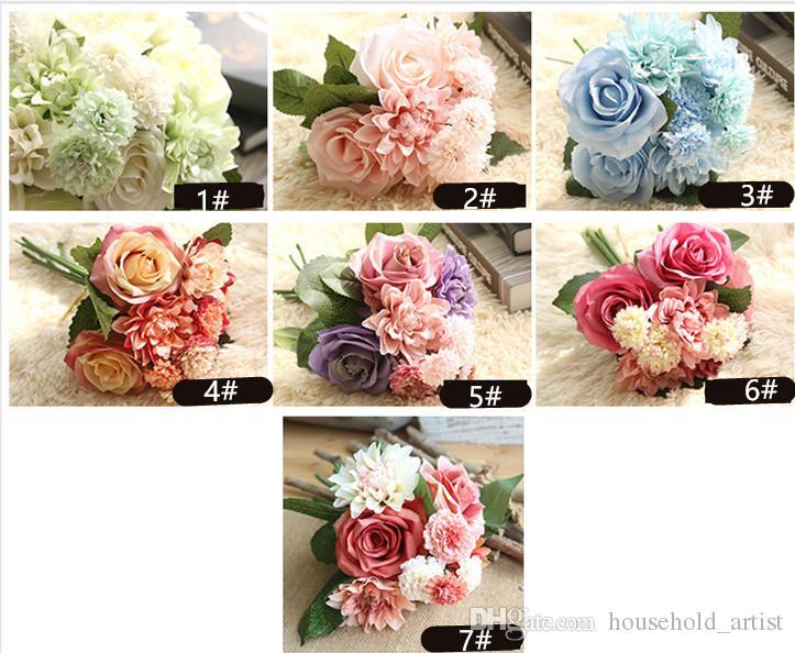 Бытовая украшения Шелковый цветок розы георгины Искусственные цветы падают яркие поддельный лист свадебный цветок свадебные букеты