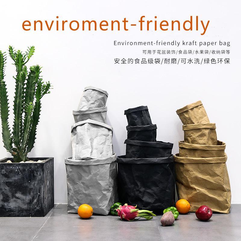 Yıkanabilir kalın kraft kağıt torba büyük kapasiteli depolama çantası kağıt saksı dekorasyon depolama ortamı dostu alışveriş ins