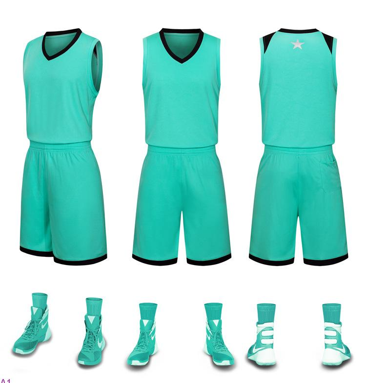 2019 NUEVO Jerseys de baloncesto en blanco Impreso Logo Size S-XXL precio barato Envío rápido Buena calidad Teal verde T001N