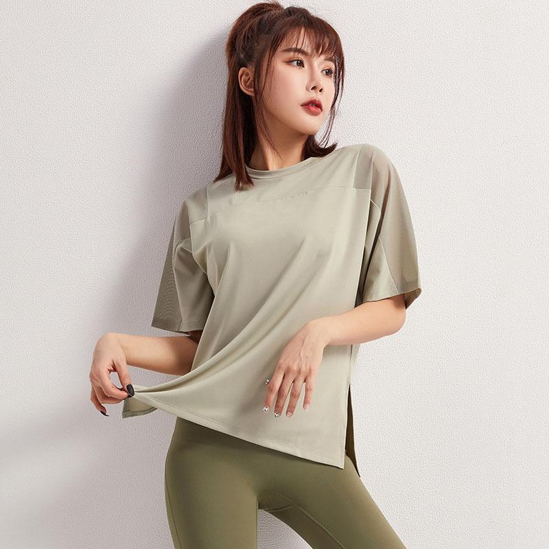 2020 novos esportes T-shirt ombros casual solta de manga curta feminina malha superior da aptidão vestido correndo de secagem rápida roupas de yoga Yoga