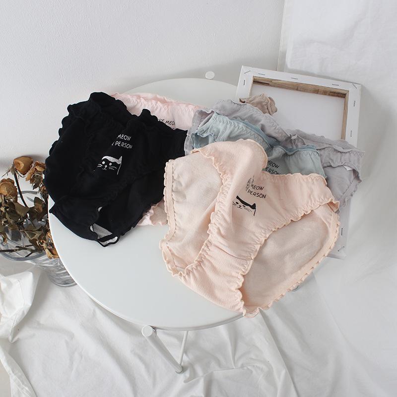 SPCITY милый мультфильм кошка Письмо печати шаблон хлопок нижнее белье для женщин оборками менструальные трусики сексуальное женское белье трусы трусы T200420