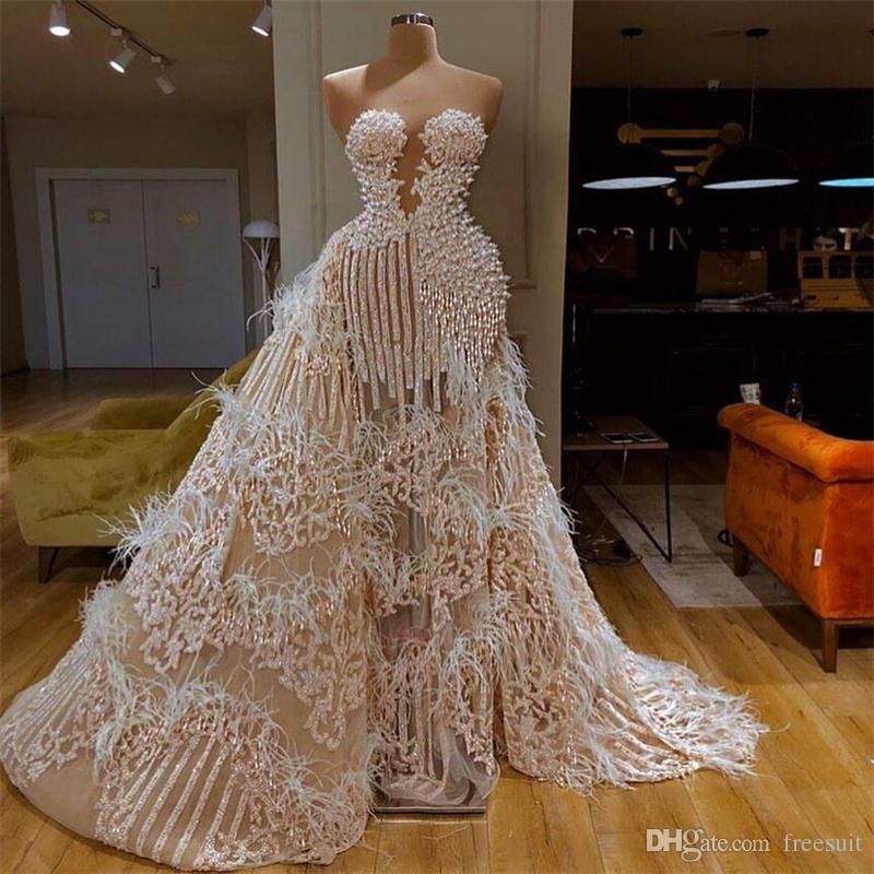 Esplêndido vestido de noite com trem destacável Querida Principal Pena Pena Appliqued Lantejoulas Formal Party Vestidos Feitos Personalizados Vestidos de Província