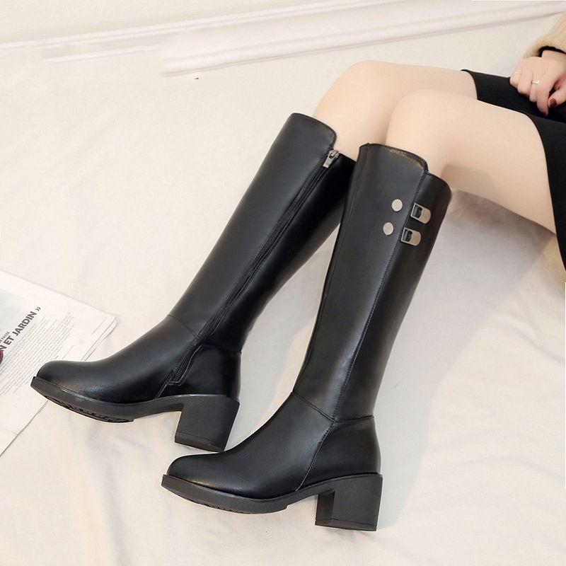 Kadın Diz Yüksek Çizmeler Kürk Yüksek Topuk Motosiklet Ayakkabı Büyük Boy Rahat Yumuşak Yağmur Su Geçirmez Uyluk Çizmeler Moda