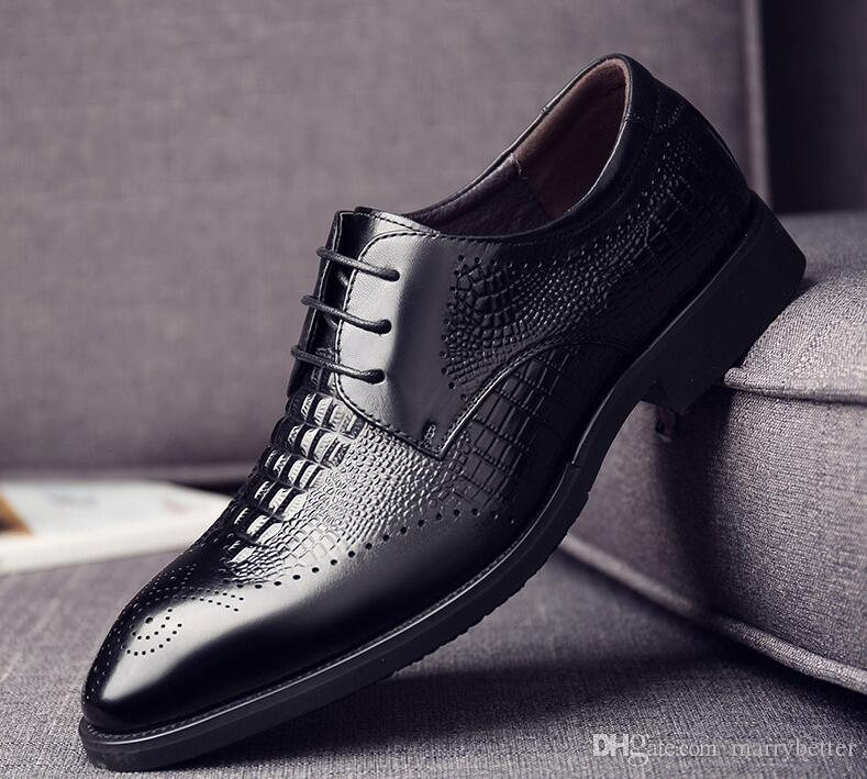 Calidad del cuero genuino de zapatos de piel de cocodrilo Cabeza zapatos de la oficina de otoño de los nuevos hombres 38-43 de los hombres de los zapatos de vestido da051