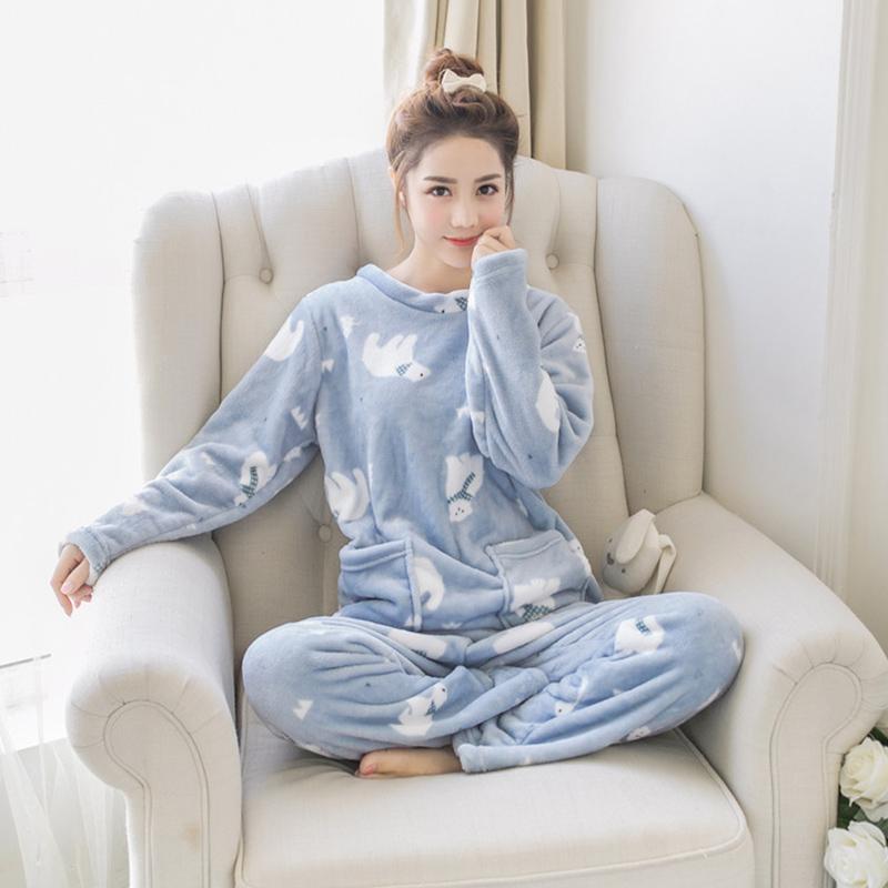 das mulheres flanela bonito de duas peças Pajama Define 2018 Autumn Feminino macio dos desenhos animados Kawaii Algodão Pijamas Ladies Imprimir Suits pijama