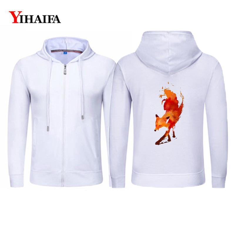 Moda moletom com capuz Zipper Jacket Primavera Casual Men YIHAIFA Hoodies Treino gráficos pintados Zip Brasão