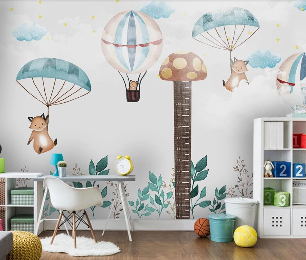 Enfants Chambre peint Carton Hauteur autocollant Hot Air Balloon Wallpaper enfants Paroi Rouleau de papier Décor Papel De Parede