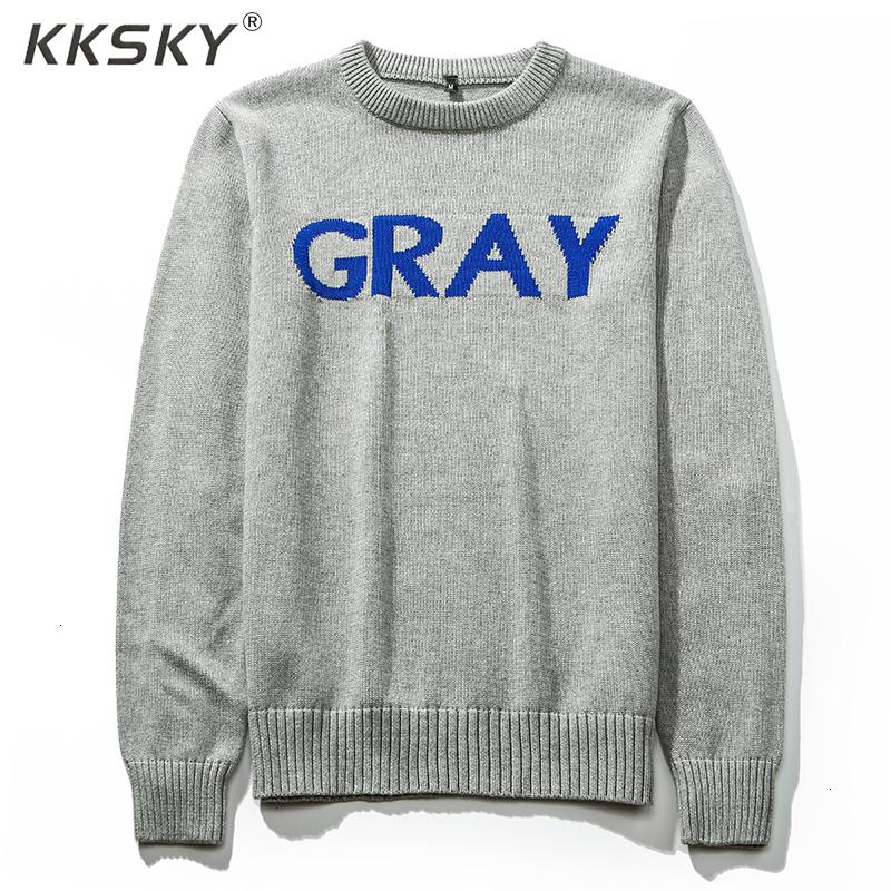 Pullover O-Collo maglione grigio Uomo 2019 inverno colore puro casuale Knit maglia a manica lunga di marca di alta qualità Pullover Maglione SH190922