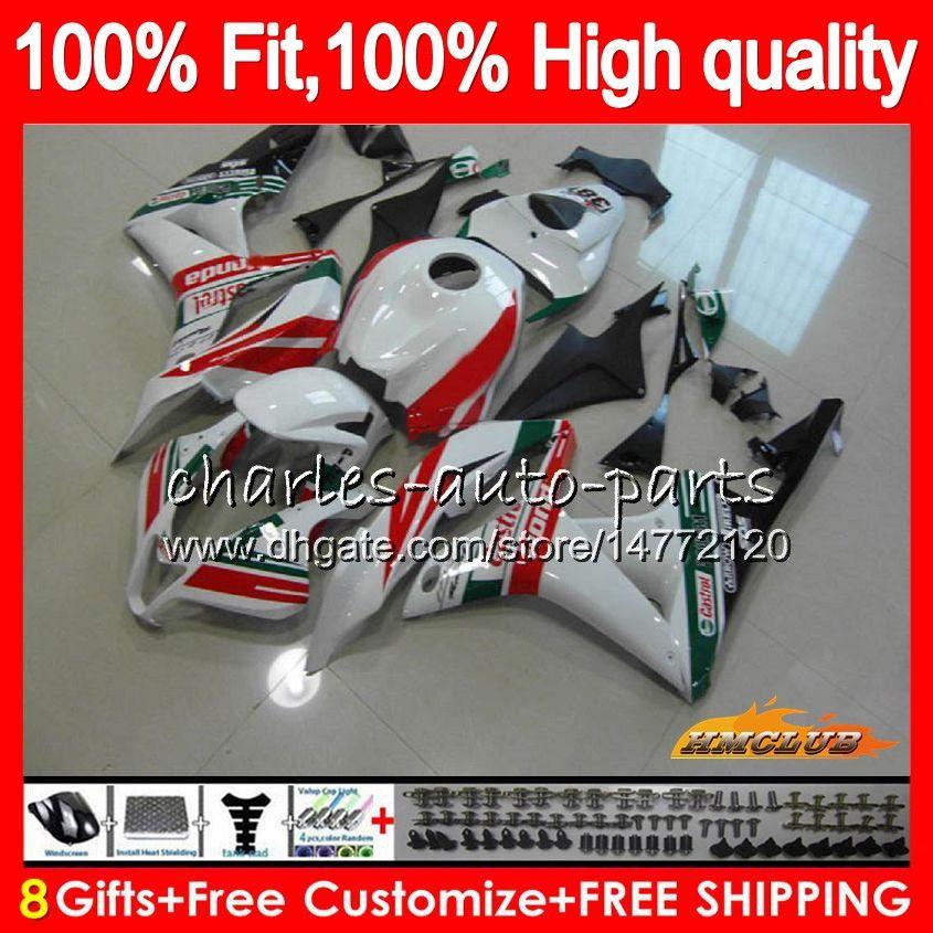 100% Inyección verde Fit Castrol para HONDA CBR 600 RR CC 600RR CBR600RR F5 600F5 07 08 67HC.47 CBR600F5 600cc CBR600 RR 2007 2008 OEM carenado