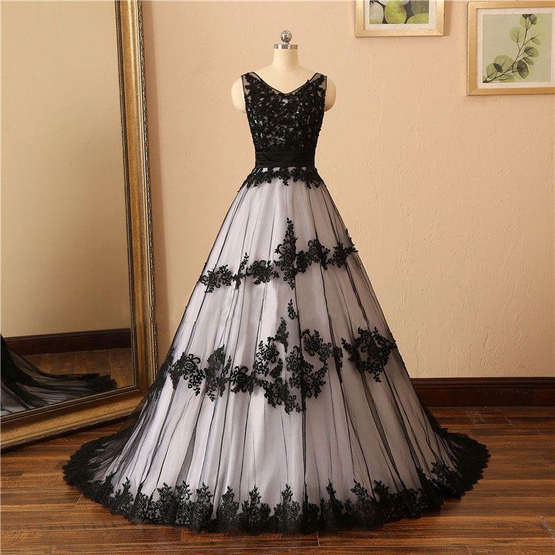 Exquisite V-Neck Lace apliques preto vestido de casamento branco Elegant Gothic vestido de casamento com lantejoulas e Sweep Trem Vestido de Noiva