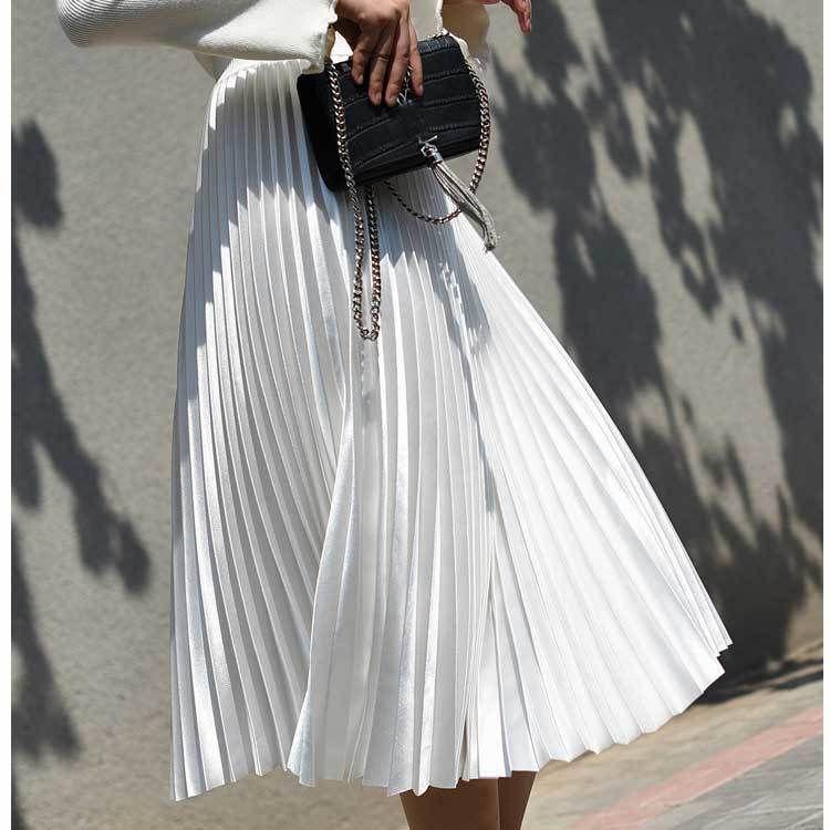 2018 taille haute femmes jupe longue blanc jupes plissées design de mode Top marque femmes jupes femme jupes longues Faldas Saia Midi Y19043002