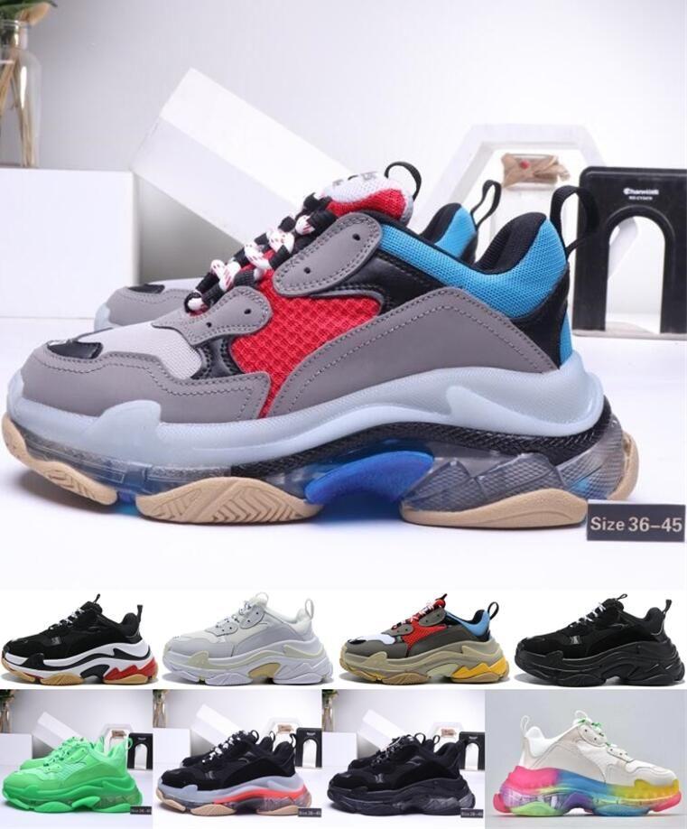 Мода Платформа Luxury тройные s увеличивающиеся кроссовки мужчин, женщин черный белый красный серый бежевый зеленый желтый женихами Ourdoor дизайнер обуви США 5.5-11