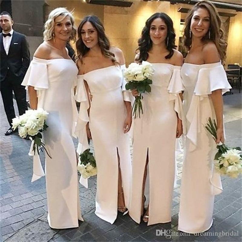 현대 긴 인어 신부 들러리 드레스 2019 오프 프론트 오프 프론트 정장 웨딩 드레스 파티 드레스