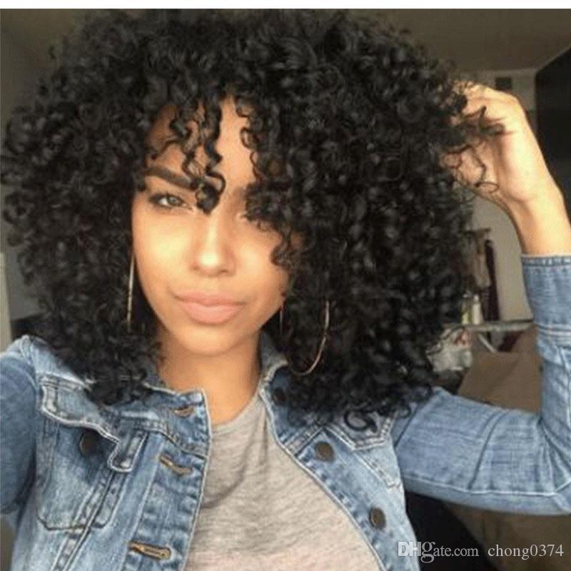 합성 가발 아프로 / 변태 곱슬 머리 이발 합성 털 아프리카 계 미국인 가발 / 흑인 여성용 검은 색 가발 여성용 중간 길이 캡슐
