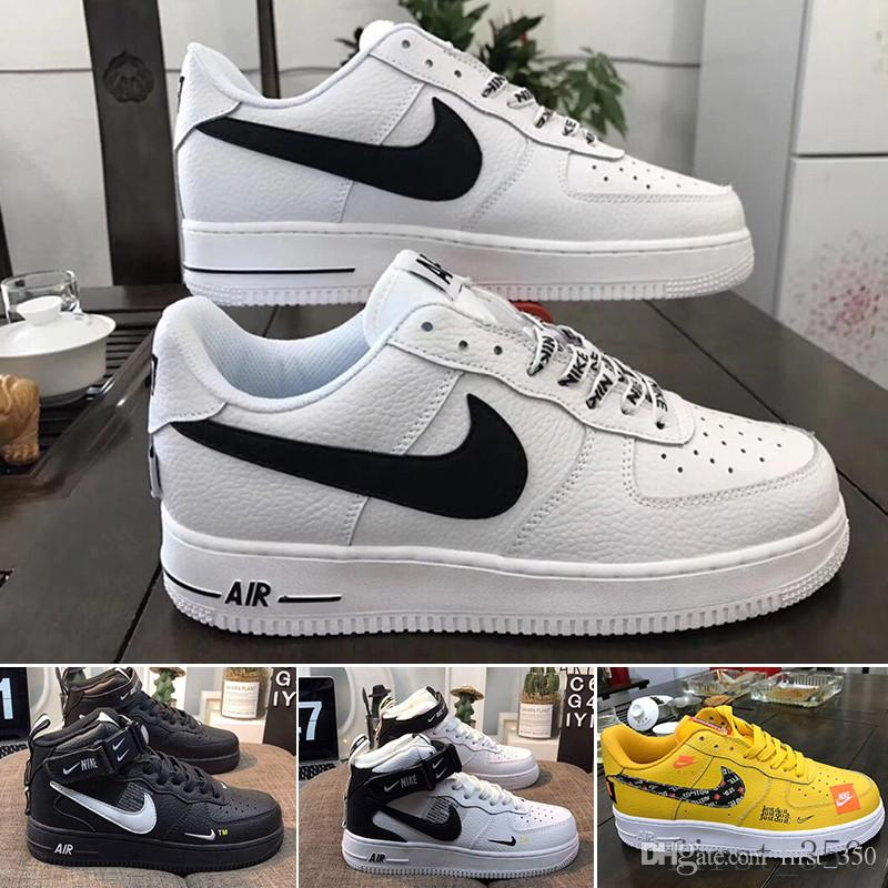 Nike air force 1 one off white Com a caixa Uma 1 Dunk tênis para Ones homens mulheres Preto Branco Rosa das sapatilhas dos homens High Low Cut trigo Brown Sports Trainers HKLK9