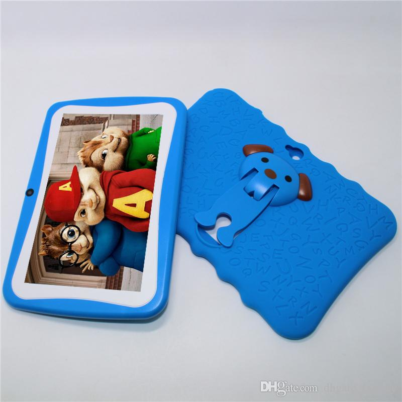 Q8-8G A33 512MB/8GB 7 inch Kids Tablet PC Quad Core Android 4.4 Dual Camera 1024*600 for kid gift with usb light big speaker