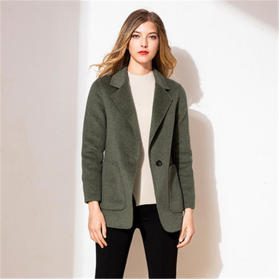 High quality 2019 new cashmere coat solid color ladies Slim professional suit collar plush coat women's clothing