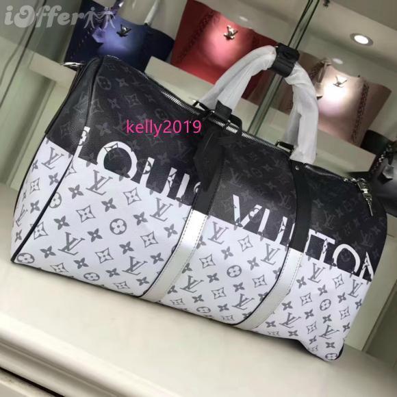 2020 M43412 New Real Leather Arcobaleno Bianco / nero 50 borse a spalla bagagli Tote Bag Messenger