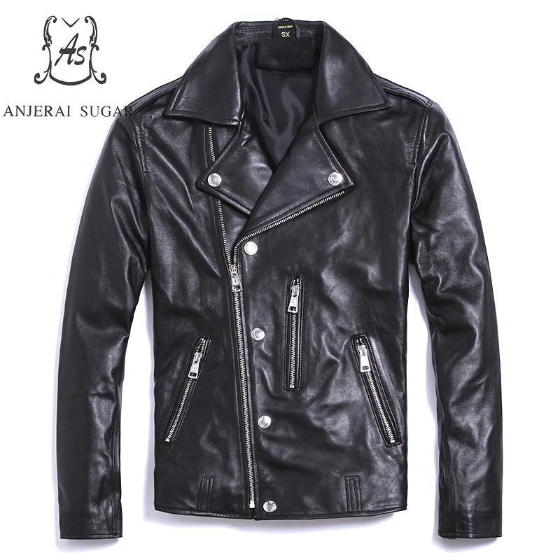 Plus Size real sheepskin genuine leather jacket men black Vintage zipper 5XL short large Moto Biker Punk jacket Motorcycle coat