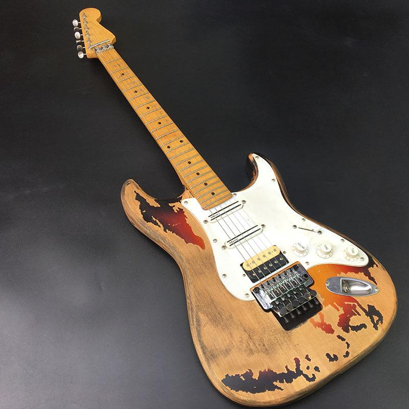 Alta qualidade 6 cordas ST guitarra elétrica, peças antigas guitarra, corpo basswood, hardware cromado, fotos reais, belo timbre