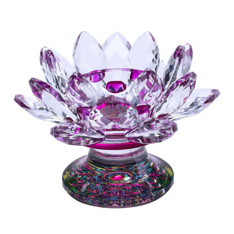 Crystal Lotus Flower Tea Light Holder Buddhist Candle Stand Home Decor Wedding Centerpieces Arts & Crafts in Gift Box 8 Colors