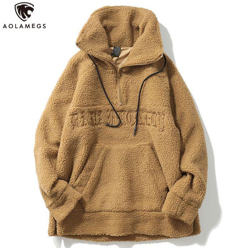 Aolamegs masculinos sudadera con capucha de la letra, además de terciopelo Pareja moda jersey de manga larga calle principal de Calle invierno ocasional LY191209