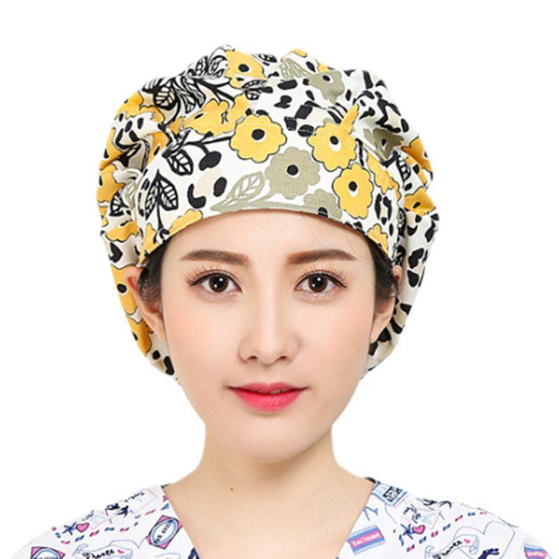 Kadınlar Erkekler Çiçek Ayarlanabilir Scrub Cap Hemşireler ter bandı ile Mutfak Pamuk Bouffant Şapka Baskı