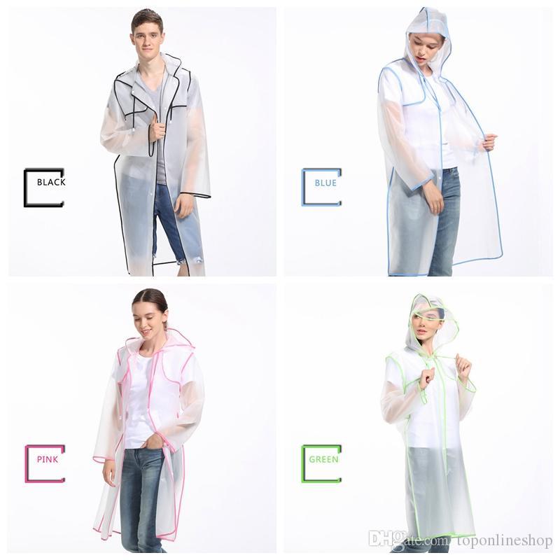ЕВА Плащи Водонепроницаемый Матовый Прозрачный Дождь Одежда Модные женщины мужчины Плащи Плащ Пальто Куртка Бахрома Одежда Плащ
