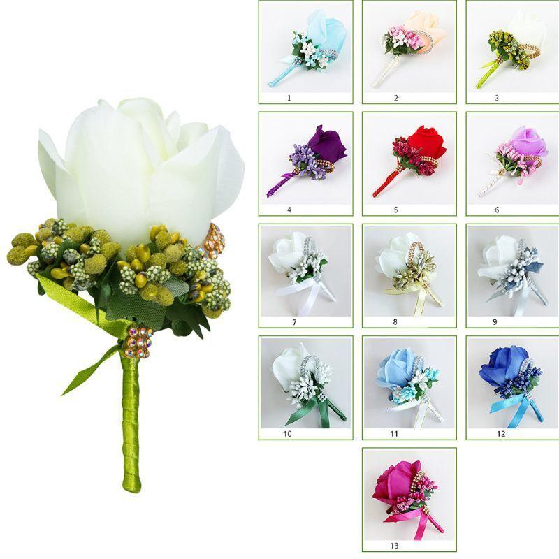 Wedding Artificial Rose Flower Brooch Bouquet Corsage Glitter Rhinestone Ribbon Lace Classic Prom Boutonniere With Pin C19041701