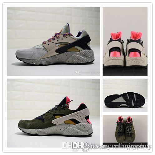 Classico superiore Huarache Run Premium Sneaker Deserto Nero Moss lino beige dorato di sport degli uomini scarpe Running Shoes