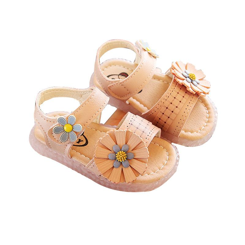 Kid Baby Girls Flat Pu Floral Toddler Girl Sandals with Hook & Loop Summer Infant Children Shoes Baby Girls First Walker Shoes