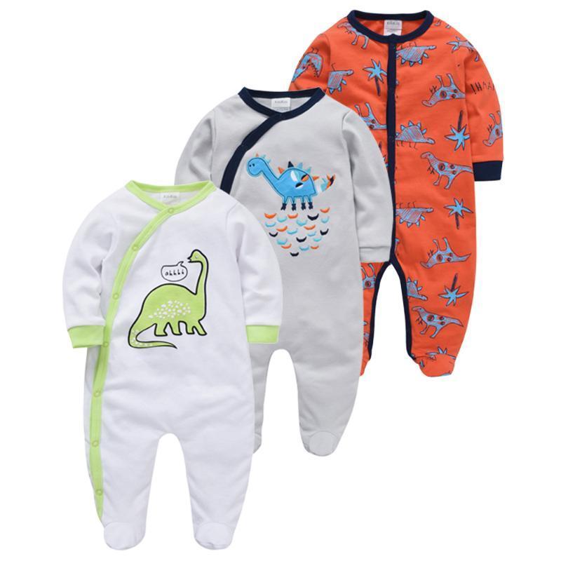 Honeyzone Infantil Menina Cartoon Dinosaur Cute Footies Winter Warm Baby Boy Clothes Pijama Recien Nacido Jumpsuit Cotton