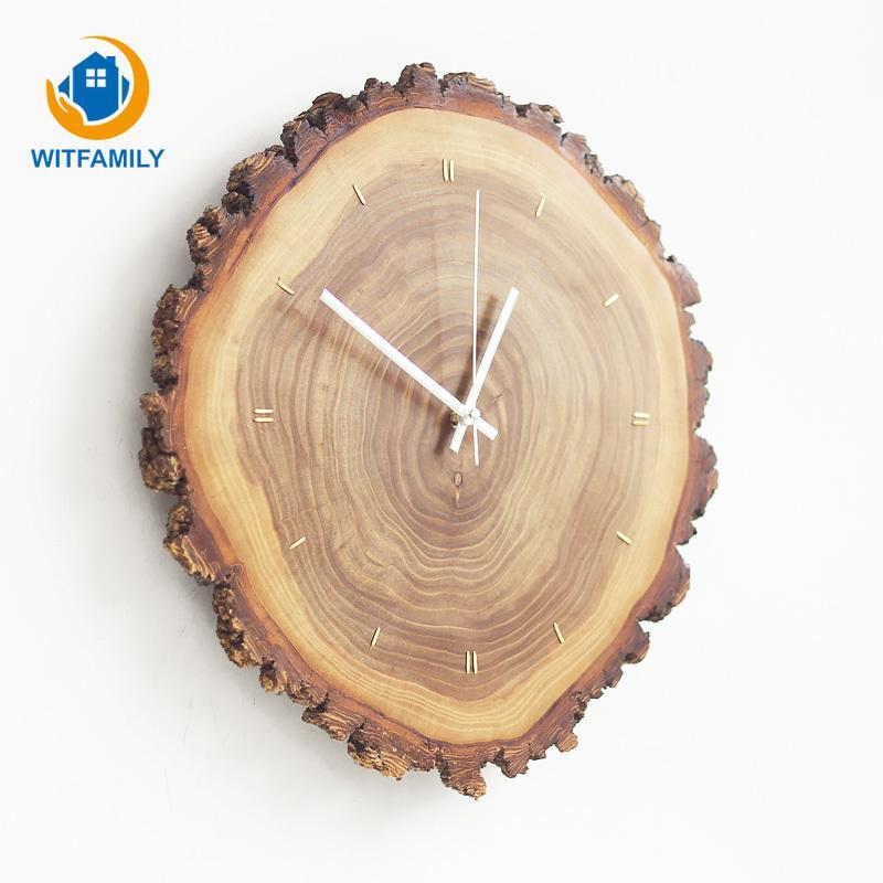 حلقة الخشب الصلب السنوي ساعة الحائط مطعمة النحاس الشمال خشبي ساعات ريترو بسيط حركة مؤشر الكوارتز غرفة المعيشة الحديثة