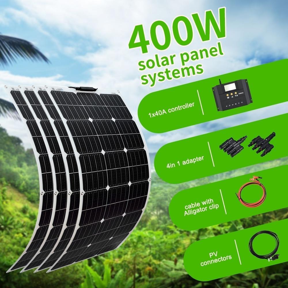 كيت 400W لوحة للطاقة الشمسية المرنة مونو للشحن 12V / 24V بطارية السيارة RV الرئيسية في الهواء الطلق الطاقة
