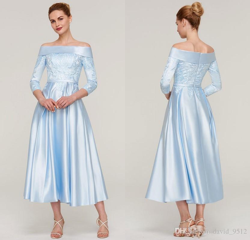 A-ligne robes de soirée manches 3/4 longueur de thé longueur robe de mère de la mariée avec appliques écharpe douce Satin bleu ciel clair B134