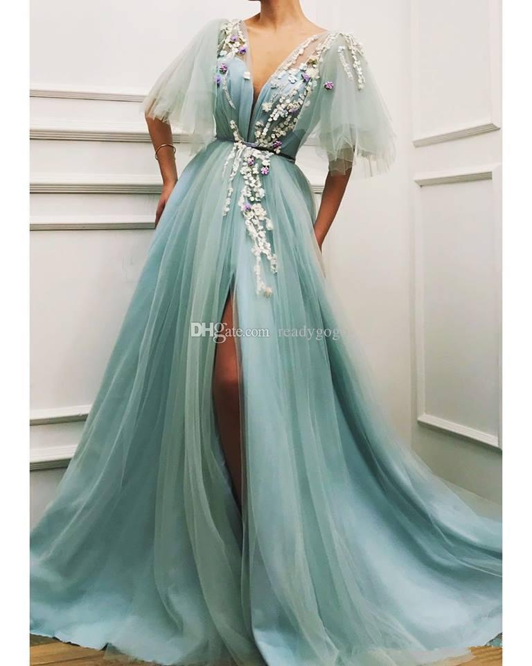 Abiti da sera verde menta menta con abiti a mezza manica 2019 V-collo in pizzo floreale 3D Split Plus Size abiti da ballo di promenade delle donne