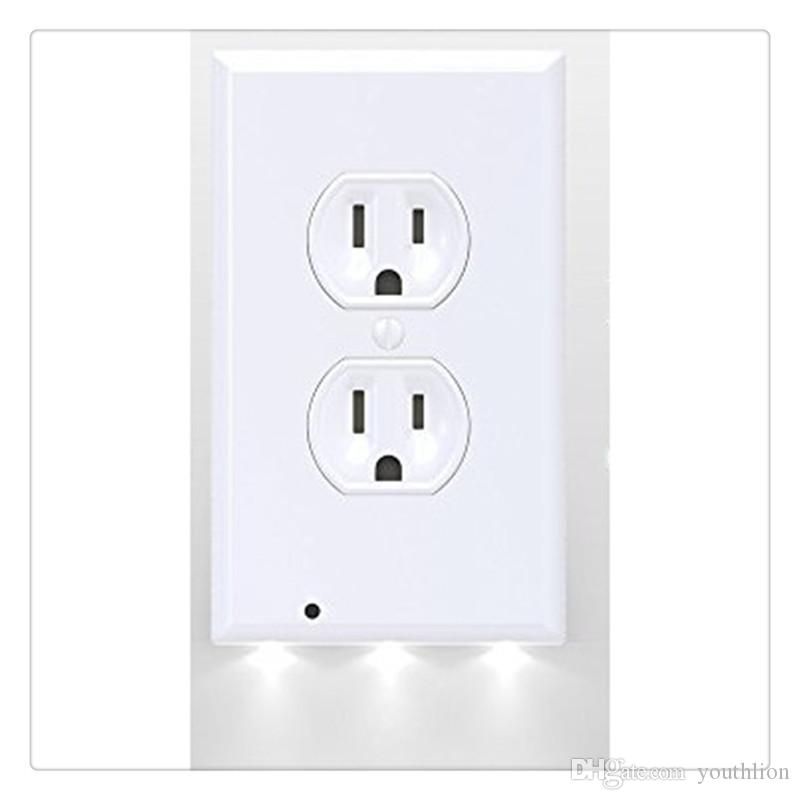 Switch Cover LED Night Light Light Sensor Wall-mount Safety Guide Outlet Coverplate Safety ABS Plastics White 3 LED