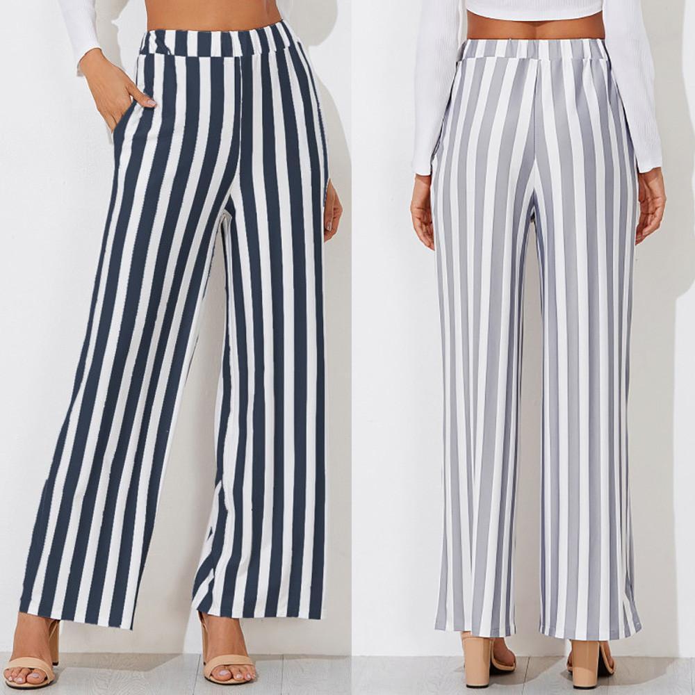 ajuste clásico 970cf 5e73d Compre Mujeres Casual Nueva Moda Raya Pantalones Estampados De Pierna Ancha  Pantalones Leggings Damas Pantalones Mujer Cintura Alta Clasicos 2019 #ES  ...