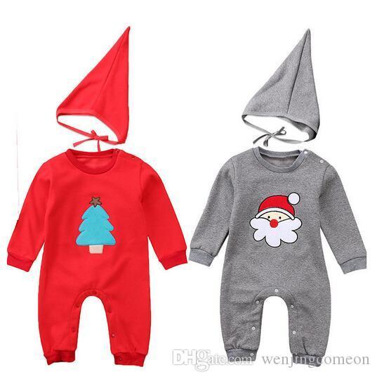 Noel Bebek Erkek Tulum Yeni Yıl Kırmızı X'mas Kıyafetler Cap Şirin Bebek Giysileri Bebe Tulumlar Tulum Kostümleri Takım Elbise