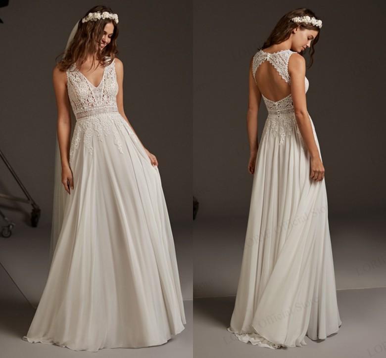 Новый A-Line свадебное платье кружева аппликация Вырез Backless шифоновое свадебное платье 2020 V-образным вырезом Свадебные платья партии Платье де Noiva