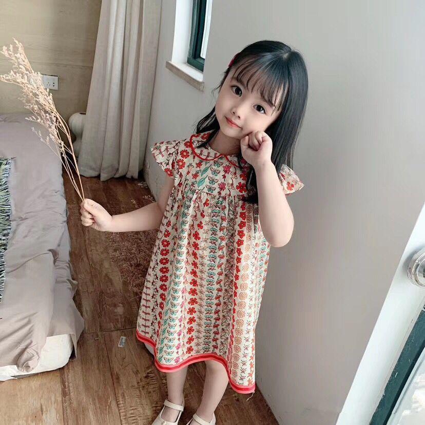 bebé muchachas del vestido maxi de la manera vestido de los cabritos del verano vestido de partido del bebé falda de flores